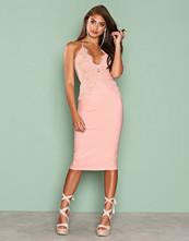 Rare London Pink Scalloped Edge Midi Dress