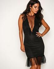 Rare London Black Polka Dot Frill Mini Dress