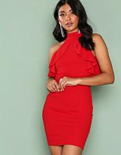 Ax Paris Red Frill Detail Choker Dress