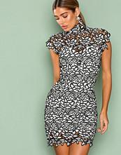 Rare London White/Black High Neck Crochet Mini Dress