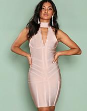Ax Paris Light Beige Bandage Choker Bodycon Dress