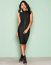 Wow Couture Black Detailed Front Bodycon Dress