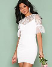 Rare London White Tulle Trim Shift Dress