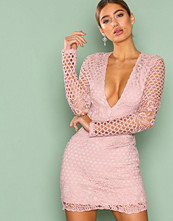 Missguided Pink Plunge Lace Long Sleeve Bodycon Dress