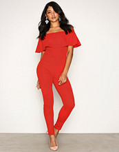 NLY One Rød Crepe Frill Jumpsuit