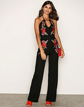 NLY One Svart Embroidery Trim Jumpsuit