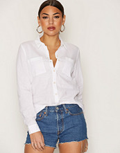 Only Hvit onlBYON L/S Shirt Wvn