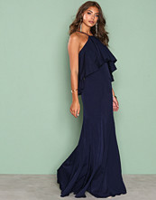 Missguided Navy Crepe Frill Maxi Dress