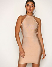 Missguided Taupe High Neck Bandage Cross Bodycon Dress