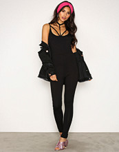 Missguided Black Harness Jersey Jumpsuit