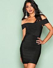 Wow Couture Black Cross Bardot Bodycon Dress