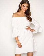Glamorous White Off Shoulder Flute Sleeve Dress