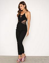 Rare London Black Lace Panel Tailored Leg Jumpsuit