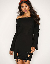 Missguided Black Lace Up Bottom Skirt