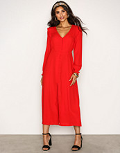 New Look Red Button Front Long Sleeve Midi Dress