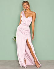 Missguided Purple Silky One Shoulder Maxi Dress