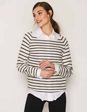 Selected Femme Blå Sfnive Stripe Ls Knit Pullover Noos