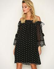 River Island Black LS Bardot Embroidered Dress
