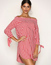 New Look Red Gingham Check Shirred Bardot Neck Dress
