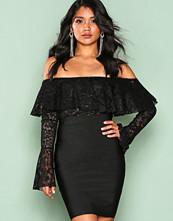 Wow Couture Black Flute Sleeve Off Shoulder Dress