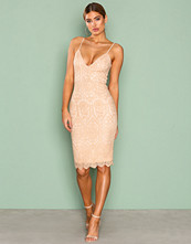 Missguided Light Beige Lace Strappy Midi Dress