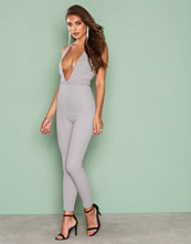Missguided Grey Crepe Plunge Wrap Around Strappy Jumpsuit