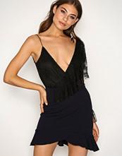 New Look Navy Frill Hem Wrap Front Mini Skirt