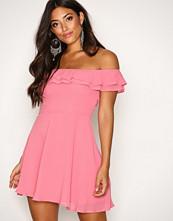 Glamorous Pink Off Shoulder Frill Dress