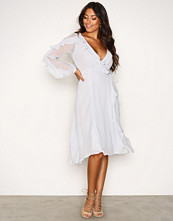 Glamorous Light Grey LS Wrap Frill Dress
