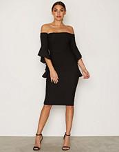 River Island Black LS Frill Bodycon Bardot Dress