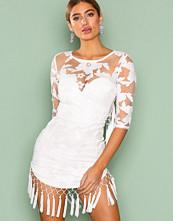 Rare London White Tassle Open Back Mini Dress