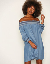 River Island Denim LS Sheering Bardot Dress