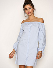 New Look Pale Blue Button Front Bardot Neck Dress