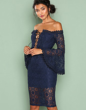 Love Triangle Navy Arlo Lace Off Shoulder Dress