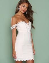 Rare London White Crochet Trim Bardot Dress