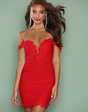 Rare London Red Crochet Trim Bardot Dress