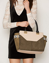 River Island Khaki Pull Out Clutch Winged Tote