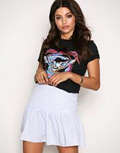 New Look Light Blue Frill Trim Mini Skirt