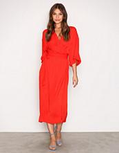Moss Copenhagen Fiery Red Ilsey Polysilk Wrap Dress