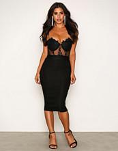 Rare London Black Lace Bralet Midi Dress