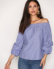 NLY Trend Blå/stripete Off Shoulder Sleeve Blouse