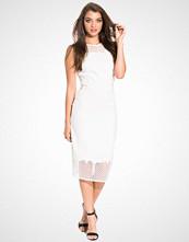 River Island White Mesh Detail Bodycon Dress