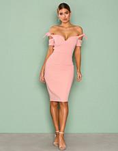 Rare London Pink Sweetheart Bardot Knot Sleeve Dress