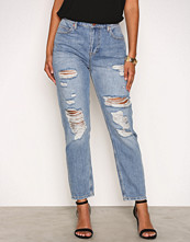 River Island Mid Blue Wash Ripped Mom Jeans