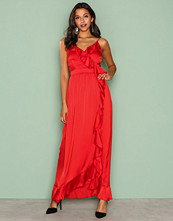 Little Mistress Red Wrap Ruffle Front Maxi Dress