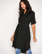River Island Black LS Eyelet Shirt Dress