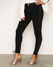 River Island Washed Black Side Lace Up Jeans