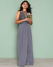 Ax Paris Grey Lace Detail Dress