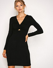 T by Alexander Wang Black Twist-Front Bracelet Slv Dress