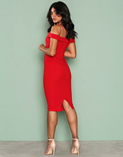 Ax Paris Red Bardot Strap Bodycon Dress